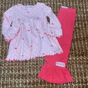 Ruffle girl 2T Valentine's Day outfit set pink